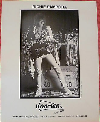 Richie Sambora Kramer guitar 8.5 x 11 promo b/w Photo Bon Jovi