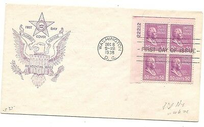 Scott #831 plate block first day cover, Fidelity cachet