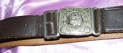 Vintage GIRL GUIDE OFFICIAL PATTERN LEATHER BELT & BUCKLE GUIDING W 25.5-30""