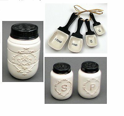 Ceramic Mason Jar Style Kitchen Set Measuring Cups, Salt & Pepper Shakers & Meas