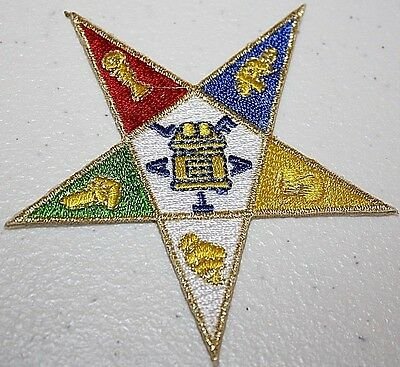 "3"" OES Embroidered Patch Iron-on Shield Emblem - Eastern Star"