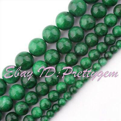 "Round Smooth Dark Green Candy Jade Gemstone Spacer Beads 15"" 6mm 8mm 10mm 12mm"