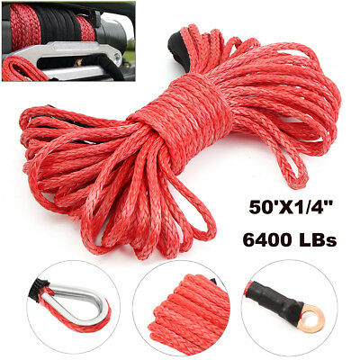 50'X1/4'' Synthetic Winch Rope Cable 6400 LBs ATV SUV Recovery For Dyneema