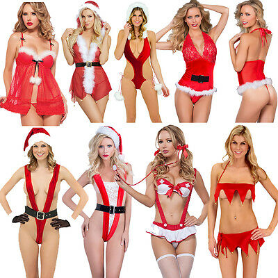 Rosso Natale Intimo Donne Sexy Lingerie Hot Abito Babydoll Biancheria Da Notte