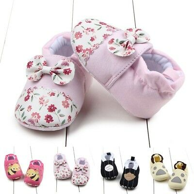 0-12M Newborn Babys Kids Girls Prewalkers Toddler Soft Sole Anti Slip Crib Shoes
