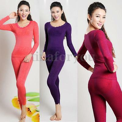 Ladies Seamless Thermal Shapewear Underwear Sets Stretch Lingerie Suits Leggings