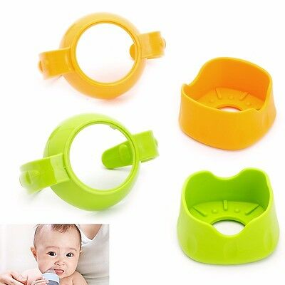 Baby Newborn Glass Bottle Standard Handles Holder Trainer Easy Grip + Base