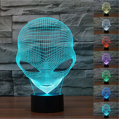 The Martians 3D Alien Shape Night Light 7 Color Change LED Table Lamp Xmas Gift