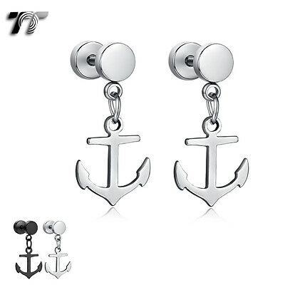TT Surgical Steel Ancor Dangle Fake Ear Plug Earrings (BE151) NEW