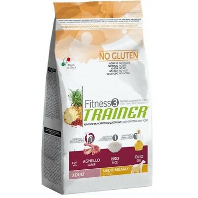 Trainer Fitness 3 Adult Medium/Maxi No Gluten Agnello 12,5 kg