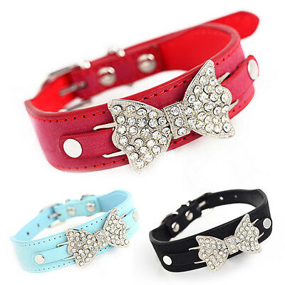 Cute Puppy Pet Dog Cat PU Leather Necklace Bling Bowknot Adjustable Collar EW