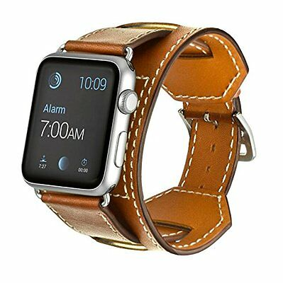 Apple Watch series 2/1 42mm Genuine Cuff Leather Band Bracelet Wrist Brown clasp