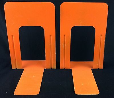 Vintage Large Metal Bookends Library Leverage Style Painted Orange OSU