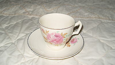C4 Pottery George Clews & Cold Roses Cup & Saucer 15x8cm 6E5A