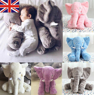 UK Baby Kids Stuff Long Nose Elephant Soft Doll Toys Lumbar Pillow Plush Gift