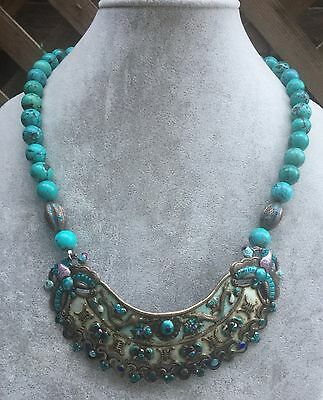 Antique Chinese Enamel Silver Pendant Turquoise Bead Necklace