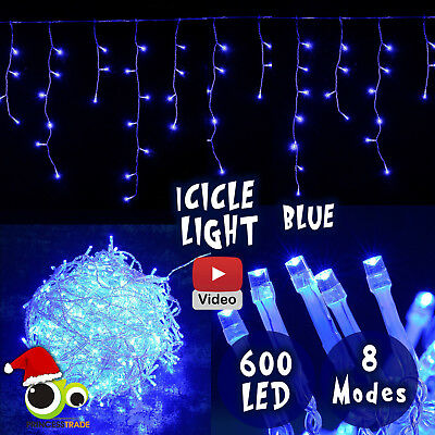 600 LED Xmas Icicle Indoor/Outdoor Christmas Light Blue Party Wedding Event