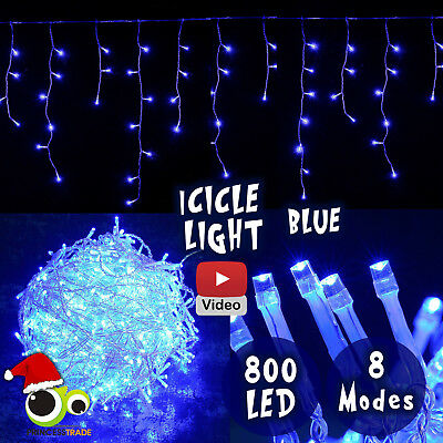 800 LED Xmas Icicle Curtain Indoor/Outdoor Christmas Blue Wedding Party Event