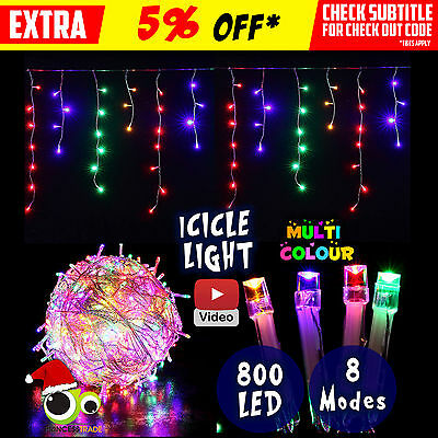 800 LED Xmas Icicle Curtain Indoor/Outdoor Christmas Multi Colour Wedding Party