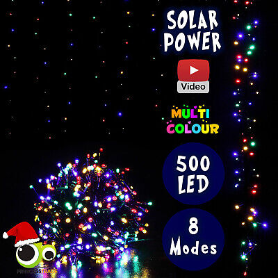 500 LED Xmas Solar Powered Indoor/Outdoor Christmas Multi Colour Wedding Party