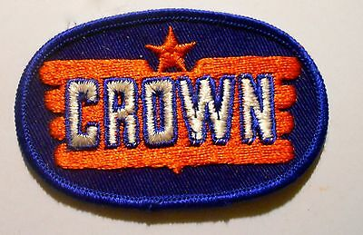 Crown Gasoline Patch Embroidered Oil 3-1/4 inches Original Vintage