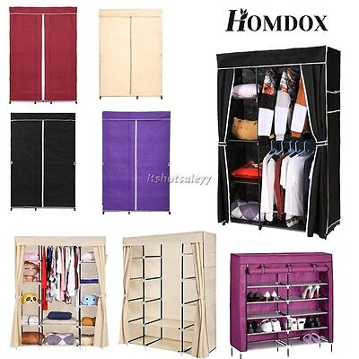Home Double Triple Canvas Wardrobe Cupboard Hanging Clothes Rail Storage Shelves