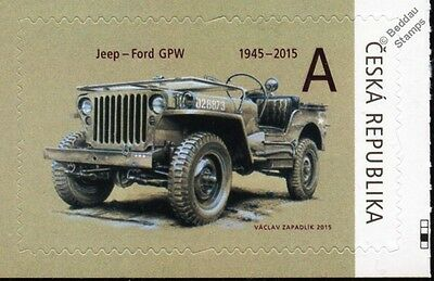 WILLYS MB JEEP / FORD GPW WWII US Army Vehicle Car Stamp (2015 Czech Republic)