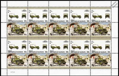 1942 WILLYS MB JEEP WWII Car 20-Stamp Sheet / Auto 100 Leaders of the World