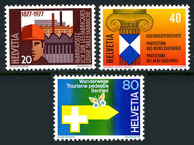 Switzerland 629-631, MNH. Factories Act;Cultural monuments;Hiking,butterfly,1977