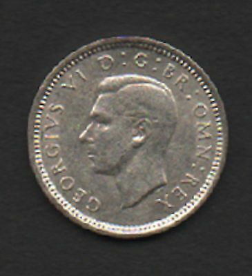 GB 1939 half Silver 3d George VI circulated fine condition coin not polished