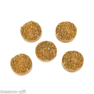 100PCs Yellow Round Resin Embellishment Findings For Jewellery DIY 12mm