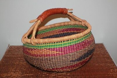 """Large 37"""" Circum Vintage African Colorful Woven Market Basket w/Leather Handle"""