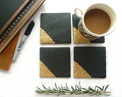 gold dipped slate coasters, new home gift, natural slate, copper, silver, gold