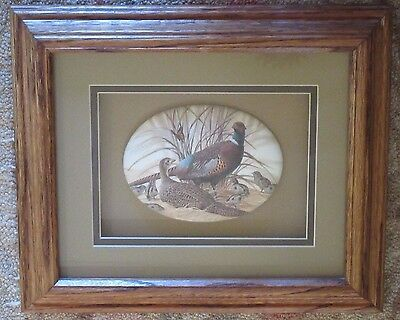 PHEASANT OVAL convex Glass MICRO Caviar bead? framed PICTURE wall, shadow box,