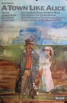 """A Town Like Alice Original 1981 Pbs Poster 46"""" X 30"""" Rolled Mint"""