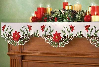 Pretty! EMBROIDERED CHRISTMAS POINSETTIA FIREPLACE MANTEL SCARF Scalloped Edge
