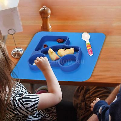 2 in 1 Safe Blue Silicone Divided Placemat Plate Bowl Tableware Kids Set R8I4