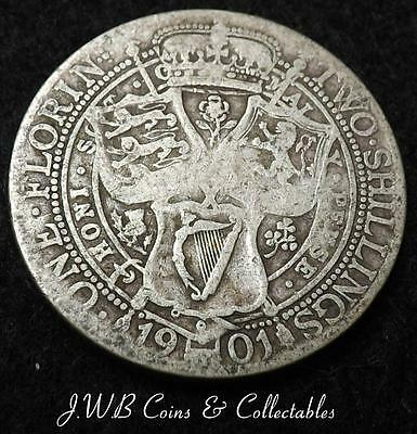 1901 Queen Victoria Silver Florin / Two Shillings Coin - Great Britain