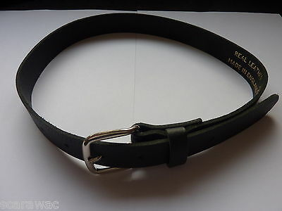 "Quality Boys/Childrens Black Leather Belts 18""-24"" Waist - Small Size, Uk Made"