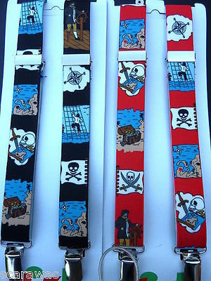 PIRATE BRACES for BOYS/GIRLS/CHILDREN -RED OR BLACK - to fit approx. 6-12 years