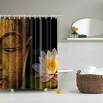 1xShower Curtain Bathroom Waterproof Polyester Fabric Drapes Buddha Lotus