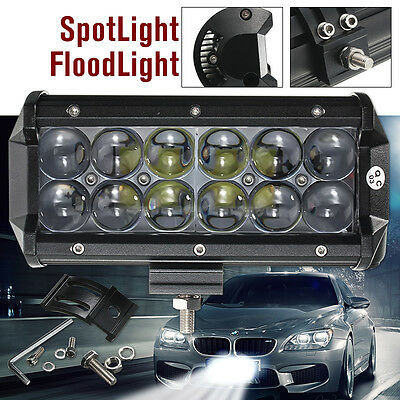 60W 7Inch 12LED Spot Beam Work Light Bar Off-road Driving Lamp Bulb Truck 4WD