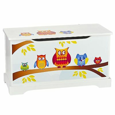 Owls Wooden Toy Box With Lid New Childrens Furniture Kids