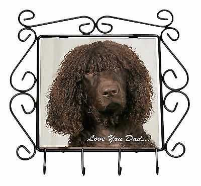 Irish Water Spaniel 'Love You Dad' Wrought Iron Key Holder Hooks Chris, DAD-59KH