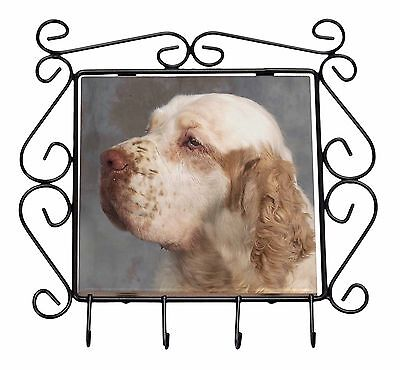 Clumber Spaniel Dog Wrought Iron Key Holder Hooks Christmas Gift, AD-CS1KH