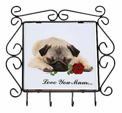 Fawn Pug with Rose 'Love You Mum' Wrought Iron Key Holder Hooks Ch, AD-P92RlymKH