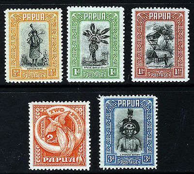 PAPUA King George V 1932 Pictorial Part Set SG 130 to SG 134 MINT
