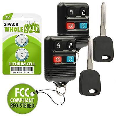 2 Replacement For 1999 2000 2001 2002 2003 2004 Ford Mustang Key + Fob Remote