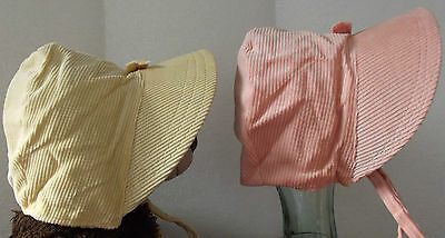 Vintage 1930s baby bonnet girls needlecord infant hat corduroy Pink yellow white
