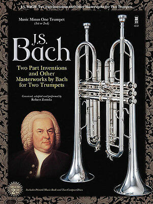JS Bach Two-Part Inventions for Two Trumpets Sheet Music Minus One Book 2 CD NEW